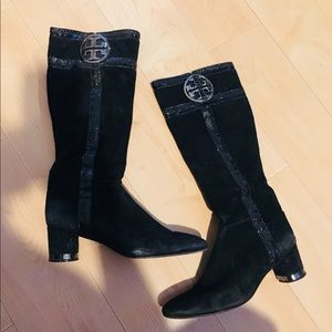 Tory Burch Heel suede boots with calf emblem logo